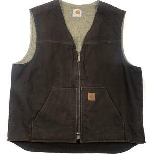Carhartt Sherpa Lined Zip Brown Zip Vest XL